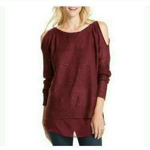 Jessica Simpson Sequin Cold Shoulder Sweater